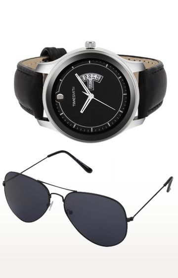 Timesmith | Timesmith Black Analog Watch and Aviators Combo For Men