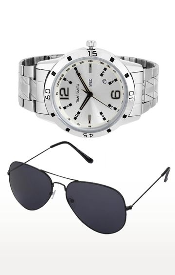 Timesmith | Timesmith Silver Analog Watch and Aviators Combo For Men