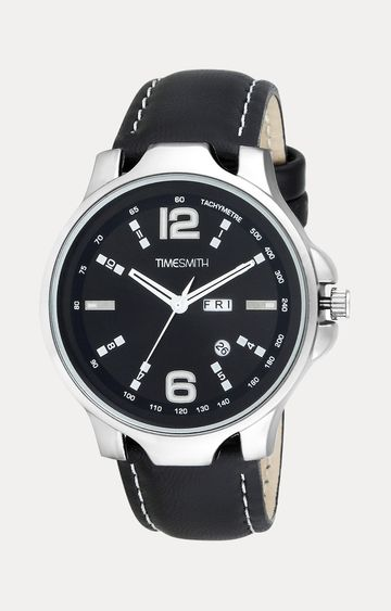 Timesmith   Timesmith Black Leather Analog Watch For Men