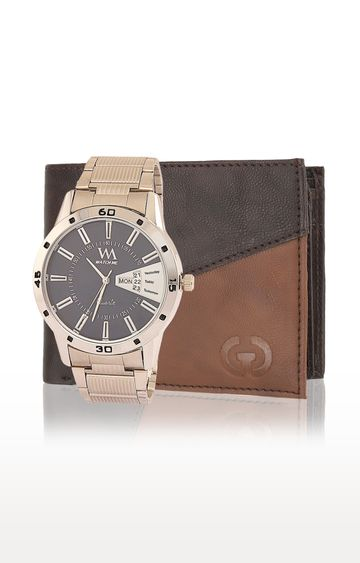 Greywood | Brown and Gold Wallet and Analog Watch