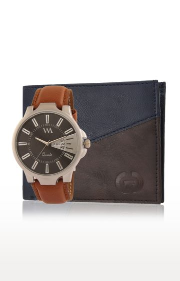 Greywood | Blue and Brown Wallet and Analog Watch