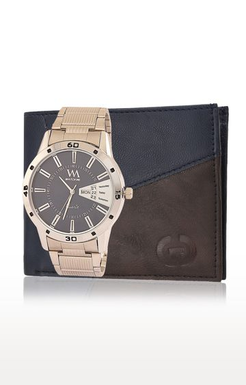 Greywood | Blue and Gold Wallet and Analog Watch