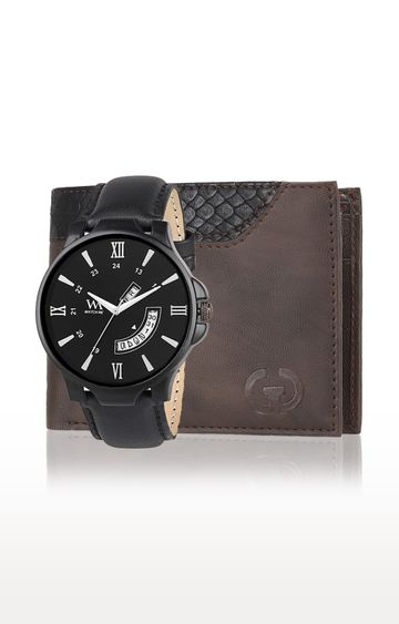 Greywood | Brown and Black Wallet and Analog Watch