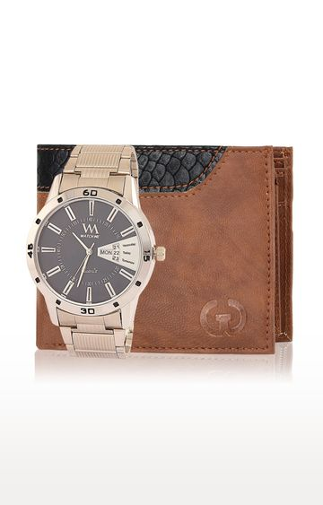 Greywood | Brown and Silver Wallet and Analog Watch