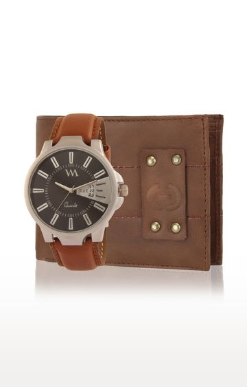 Greywood | Brown Wallet and Analog Watch
