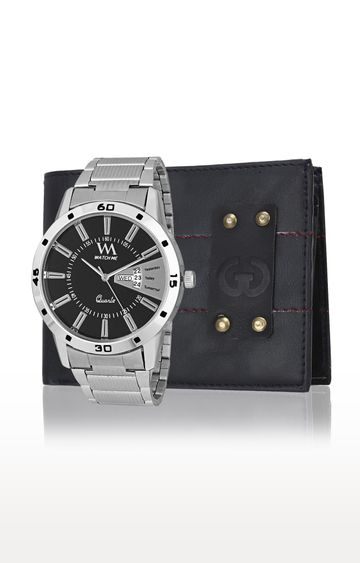 Greywood | Blue and Silver Wallet and Analog Watch