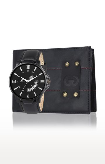 Greywood | Blue and Black Wallet and Analog Watch
