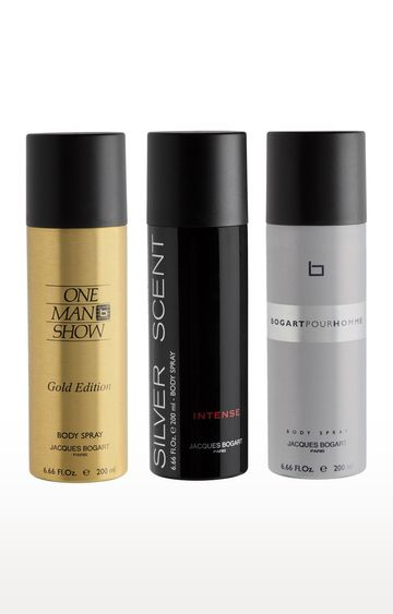 Jacques Bogart | One Man Show Gold, Silver Scent Intense and Pour Homme Deo Combo Set of 3