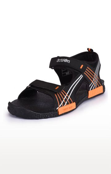 Action | Black and Orange Sandals