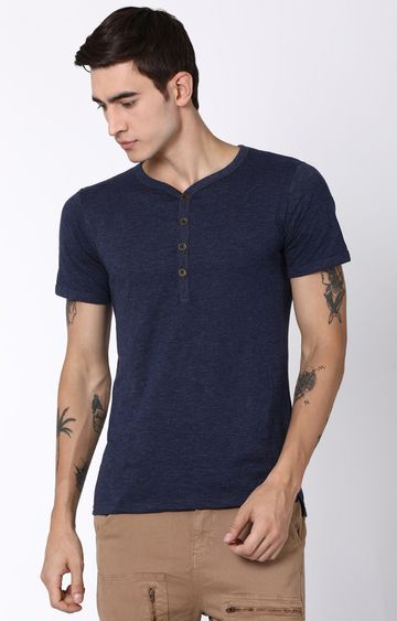 Blue Saint | Navy Blue Solid T-Shirt