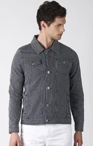 Blue Saint | Grey Striped Denim Jacket