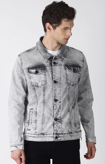 Blue Saint | Grey Solid Denim Jacket