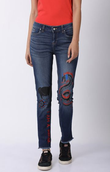 Blue Saint | Blue Printed Tapered Jeans