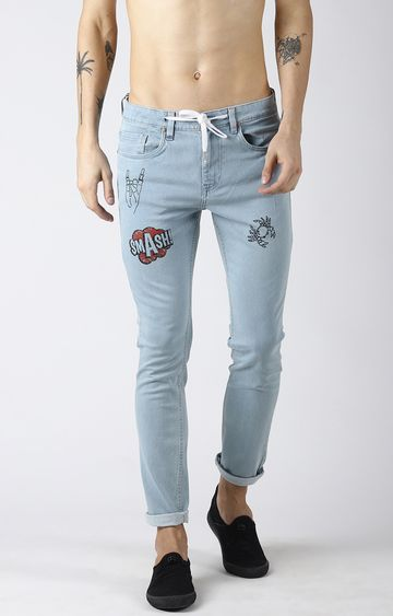 Blue Saint | Light Blue Printed Tapered Jeans