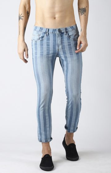 Blue Saint | Light Blue Striped Tapered Jeans