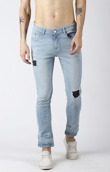 Blue Saint | Light Blue Ripped Tapered Jeans