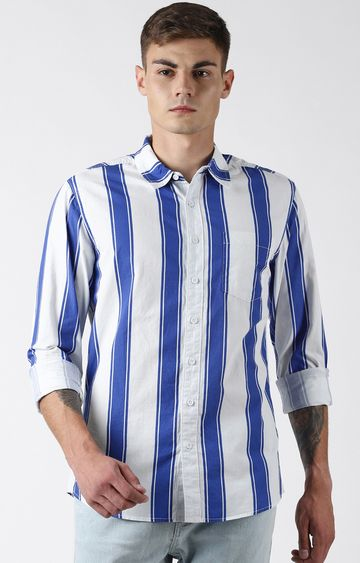 Blue Saint | Blue and White Striped Casual Shirt