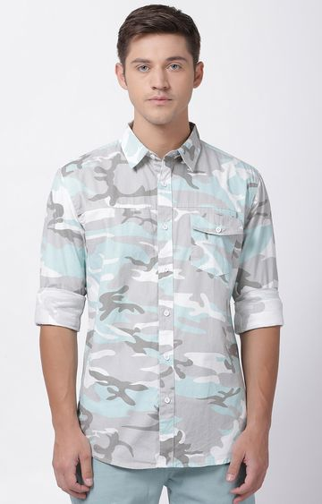 Blue Saint | Grey and Light Blue Camouflage Casual Shirt