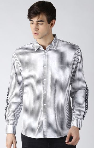 Blue Saint | White Striped Casual Shirt