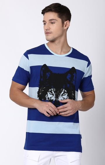 Blue Saint | Blue Striped T-Shirt