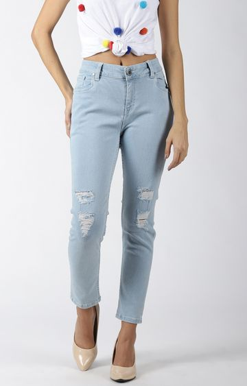 Blue Saint | Light Blue Ripped Cropped Jeans