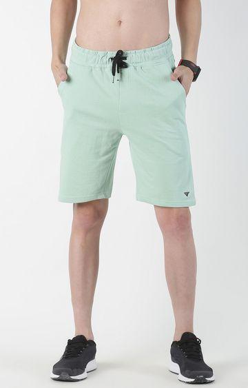 Blue Saint   Light Green Solid Shorts