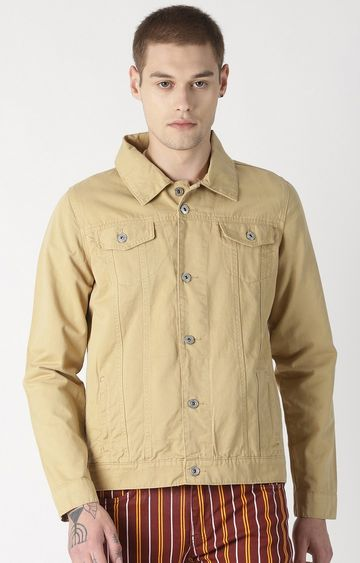 Blue Saint   Khaki Solid Denim Jacket