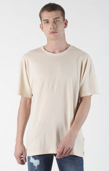 Blue Saint | Beige Solid T-Shirt