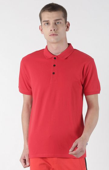 Blue Saint | Red Solid Polo T-Shirt