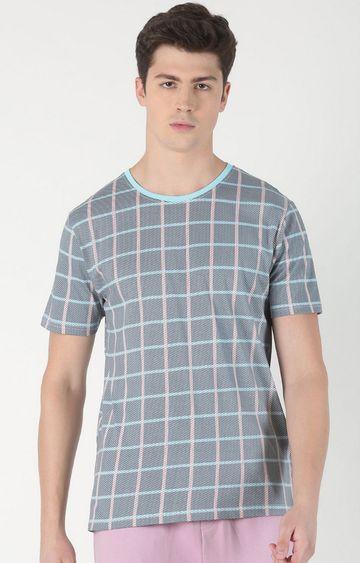 Blue Saint   Grey Checked T-Shirt