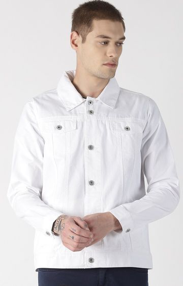 Blue Saint | White Solid Denim Jacket