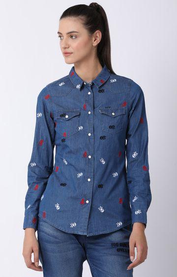 Blue Saint   Blue Printed Casual Shirt