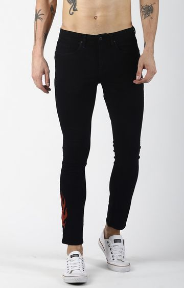 Blue Saint | Black Solid Tapered Jeans