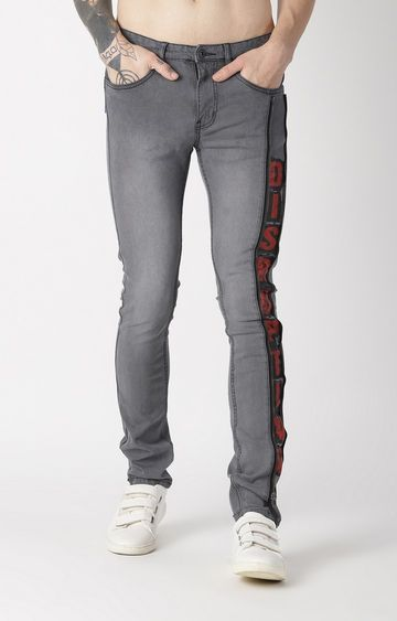 Blue Saint | Grey Printed Tapered Jeans
