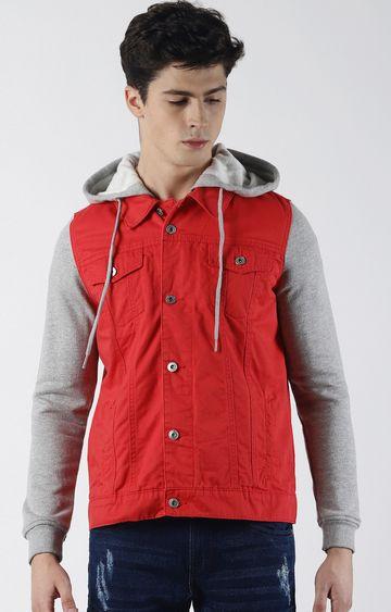 Blue Saint   Red Solid Denim Jacket
