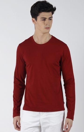 Blue Saint   Maroon Solid T-Shirt