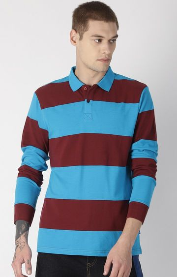 Blue Saint | Red and Blue Colourblock Polo T-Shirt