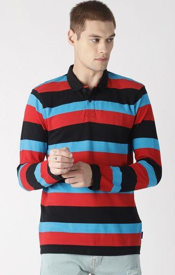 Blue Saint | Red Colourblock Polo T-Shirt
