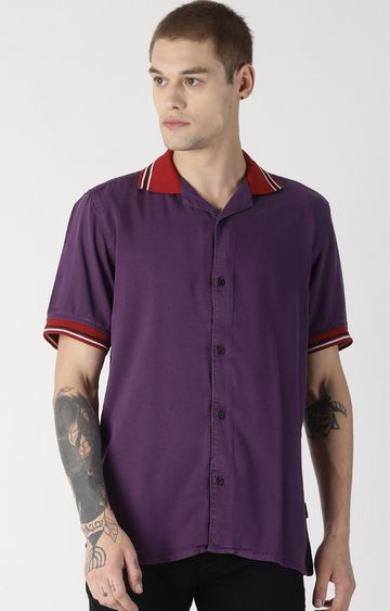 Blue Saint | Purple Solid Polo T-Shirt