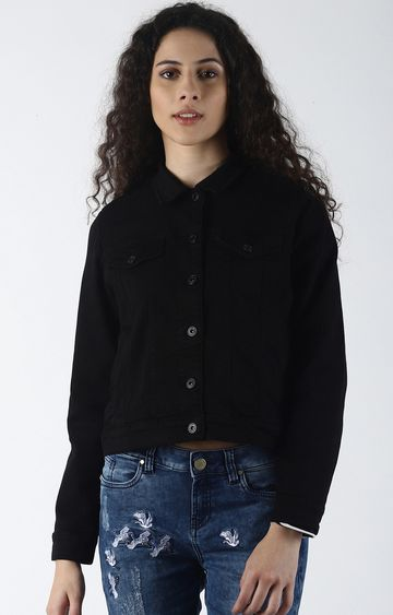 Blue Saint | Black Solid Denim Jacket