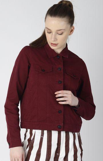 Blue Saint | Maroon Solid Denim Jacket