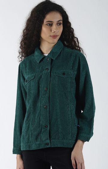Blue Saint | Green Solid Denim Jacket