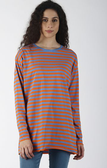Blue Saint | Blue and Orange Striped T-Shirt