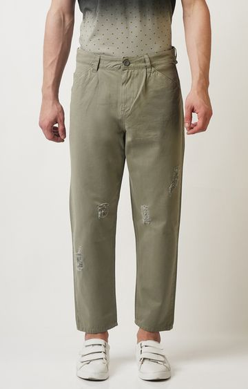 Blue Saint   Olive Solid Straight Chinos