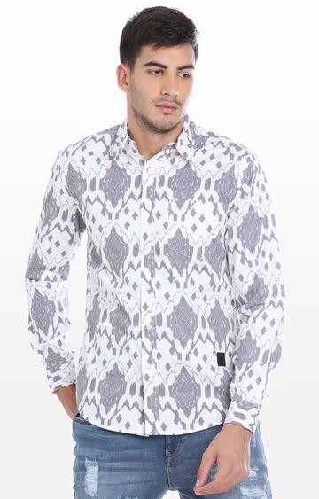 Blue Saint | White and Grey Printed Casual Shirt