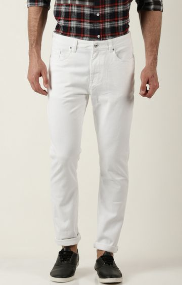 Blue Saint | White Solid Straight Jeans
