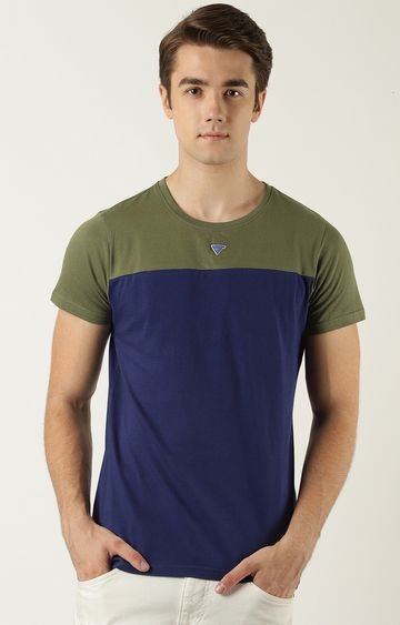 Blue Saint | Green and Blue Colourblock T-Shirt