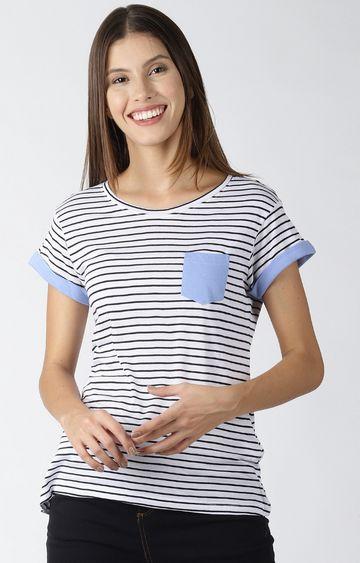 Blue Saint | White Striped T-Shirt