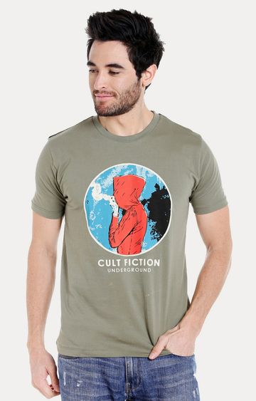 Cult Fiction | Light Olive Printed T-Shirt