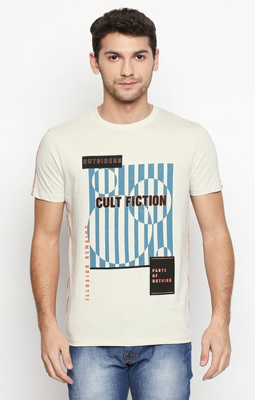 Cult Fiction | Off White Printed T-Shirt